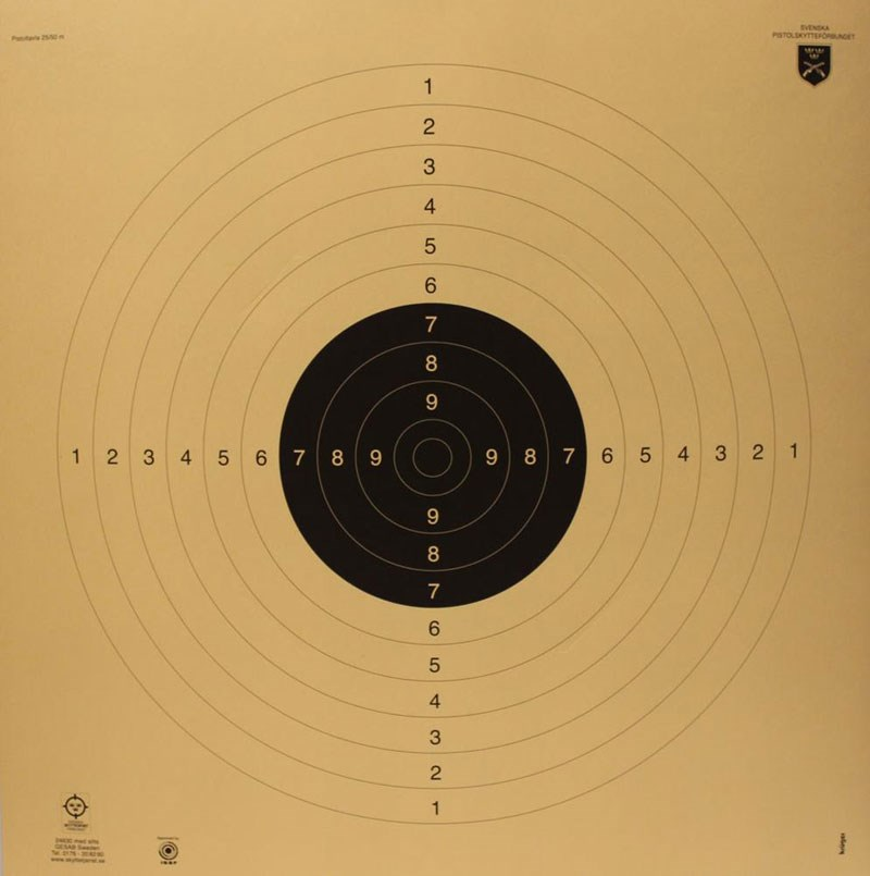 25-50m internationell pistoltavla  60x60cm